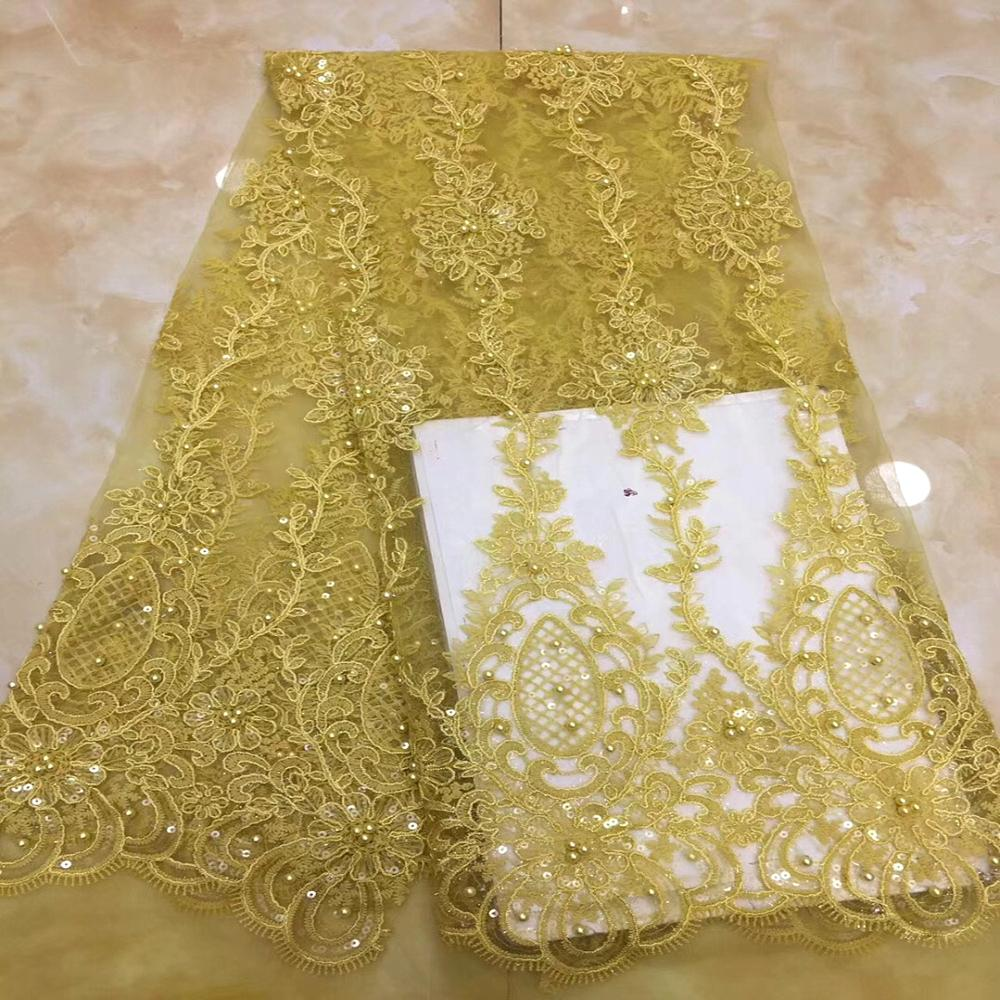 African Tulle Lace Fabric Pink High Quality French Nigerian Mesh voile With Beads Lace Fabrics Yellow