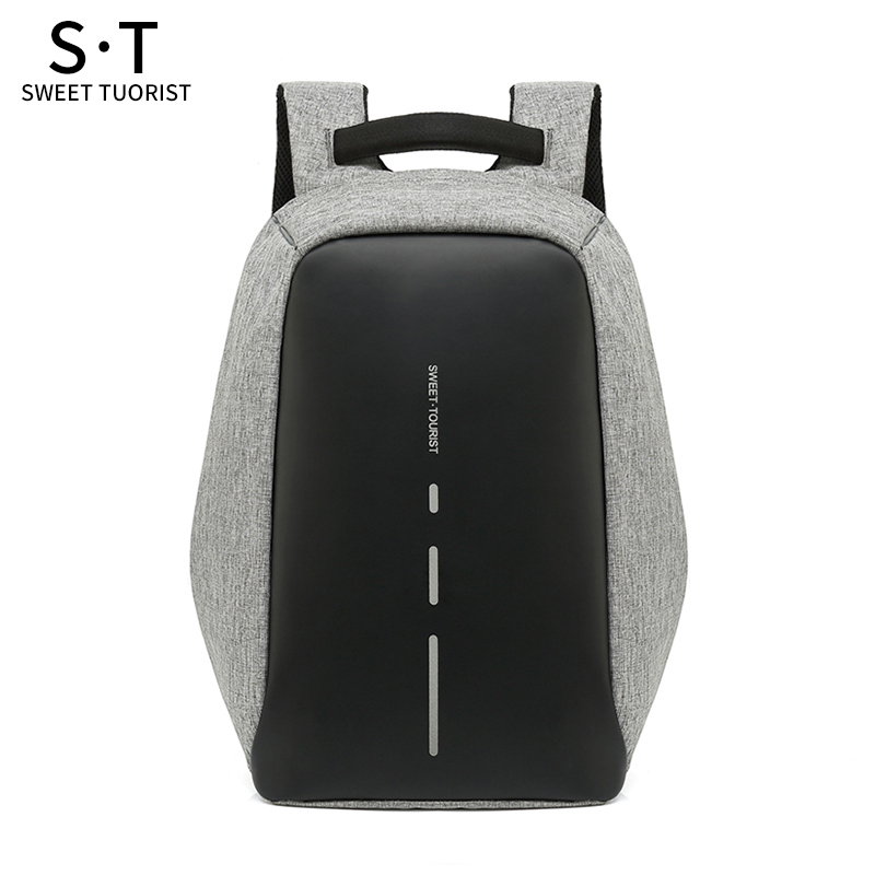 15.6 Inch Laptop Backpack USB Bag Waterproof Travel Pack 6 Colors Faux Leather Packs 1936 Male Cool Anti-Theft School Bags