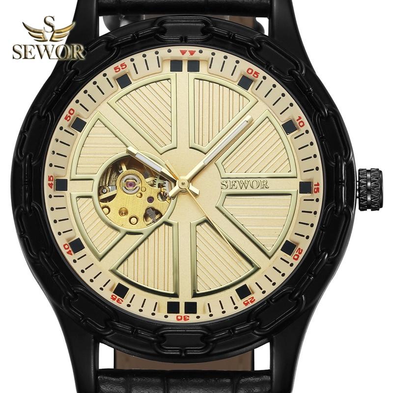SEWOR 2019 TOP LUXURY MARKA MODA Chalet jarzma kształt GLOD BLACK - Męskie zegarki - Zdjęcie 1