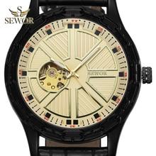 SEWOR Mens 2019 New Fashion Chalet Yoke Shape GLOD BLACK Mechanical Automatic Watch Men Sport Watch relogio masculino C380