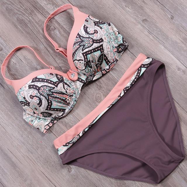 NAKIAEOI 2018 Sexy Push Up Bikini Women Swimsuit Plus Size Swimwear Print Patchwork Bikini Set Bathing Suit Beach Wear Swimming 4