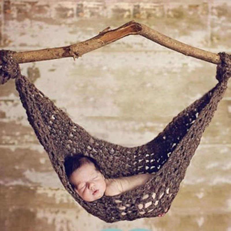 Новорожденный ручной вязки одежда для малышей гамак детская Фотография Студия реквизит качалка для малышей fotografie achtergronden Джемперы для младенцев