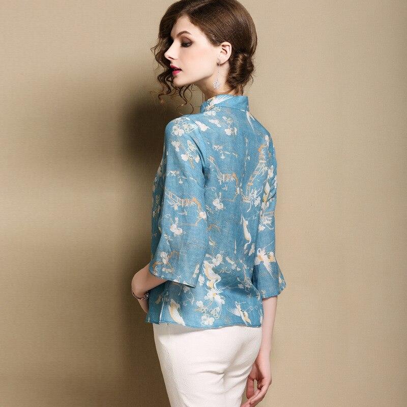 Tang Vintage Fleur Bleu Traditionnel Chemise Soirée Classique Mandarin Top Ciel Dame Femmes Imprimer Vêtements Élégante De Blouse Col Pu 815xwwtY