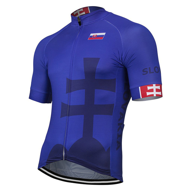 Slovakia Men 2019 Outdoor New Summer Blue Cycling Jersey Bike Road Mountain Race Tops Riding Bicycle Wear Bike clothes