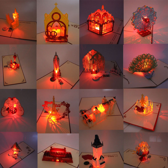 3d laser cut pop up greeting card postcards happy birthday christmas music led lighting handmade paper
