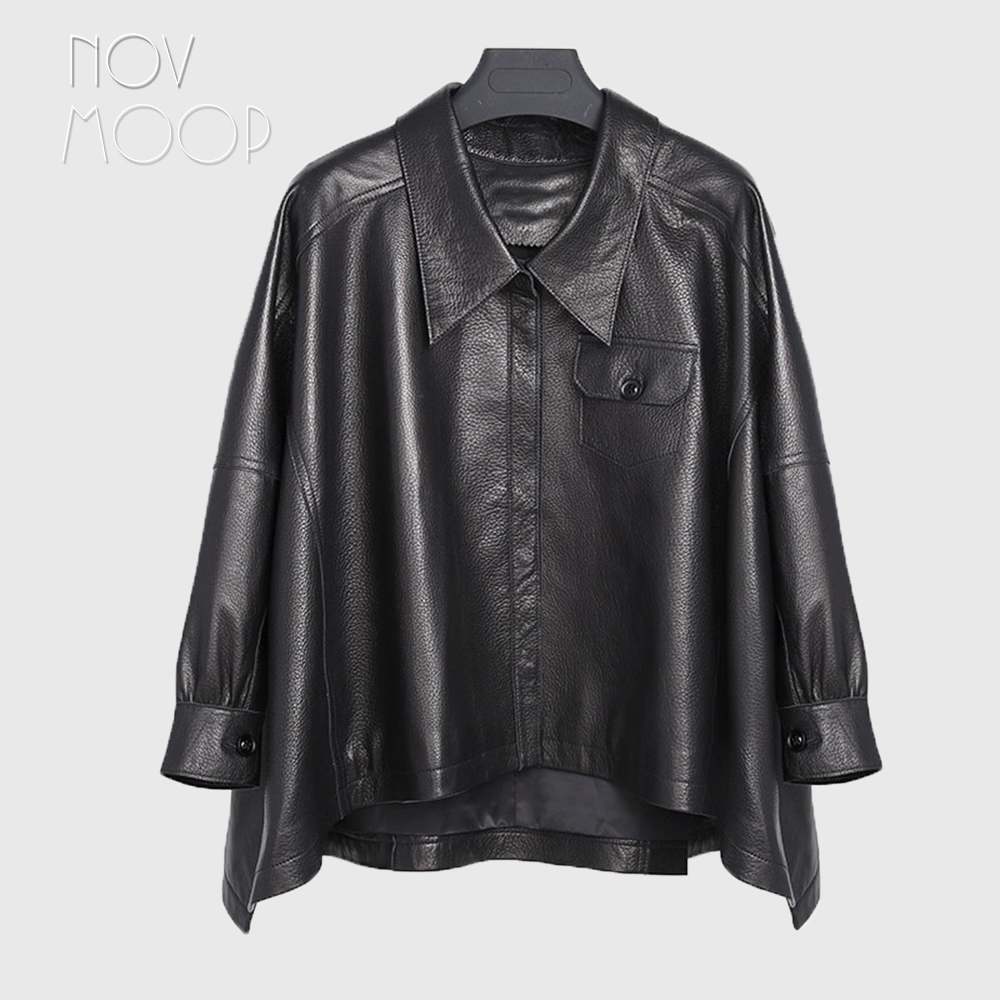 Donne nero vera pelle di agnello di ghiaia-in pelle poncho cappotti giacche outwear irregolare hem tasche anteriori casaco feminino ropa LT2483