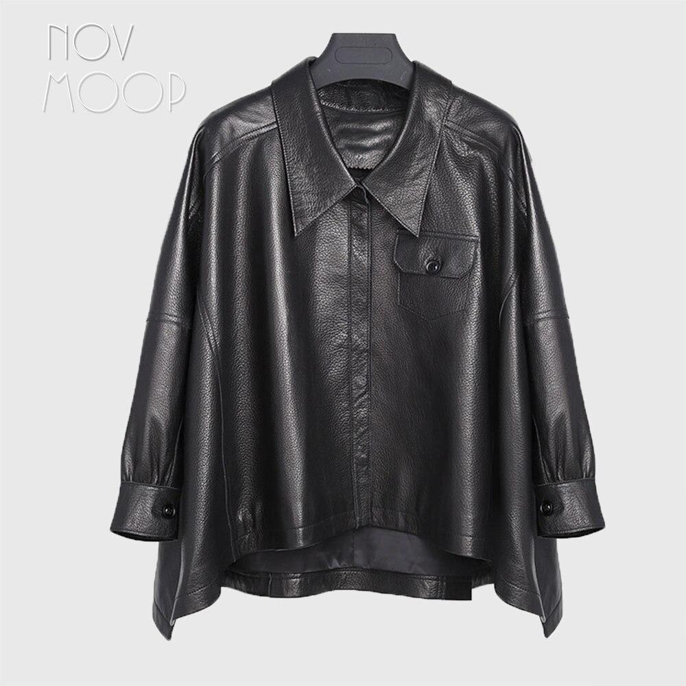 Femmes noir réel agneau de galets-en cuir poncho manteaux vestes outwear inégale ourlet avant poches casaco feminino ropa LT2483