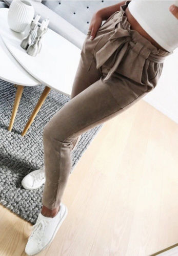 2019 Women Sexy arrival Striped Slim Skinny Casual High Waist Pencil Long Pants Trousers Flat Drawstring Bodycon Solid Pants 6