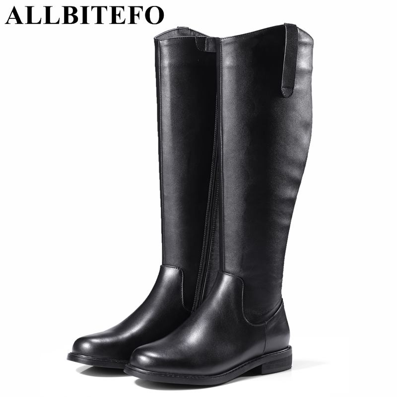 ALLBITEFO size:33-42 genuine leather+pu women high heel shoes winter boots high over the knee boots stretch boots bota de neve