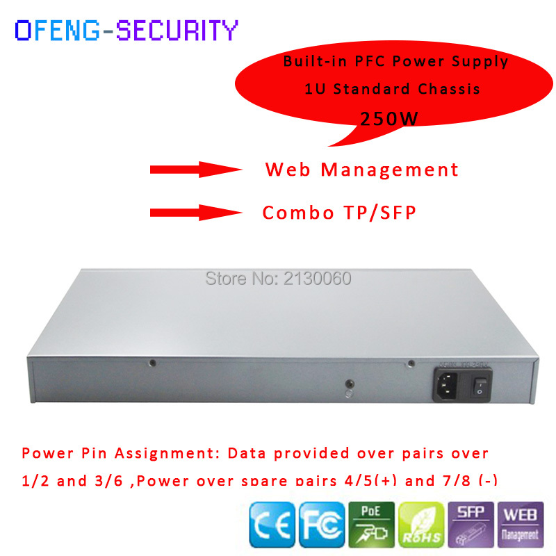 400W 20 Ports POE Switch,16 Ports 100M POE+2Port RJ45 And 2Port SFP Combo Ports Uplink, IEEE 802.3af/at, PoE Output 15.4W Budget