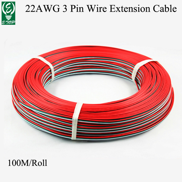 100M/Roll 22AWG 3 colors Red Green White Tinned Copper Extension ...