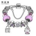 Lovely girls joyería de plata chapada pulsera de las mujeres rosa y azul murano glass beads crystal hello kitty encantos pulsera para las mujeres