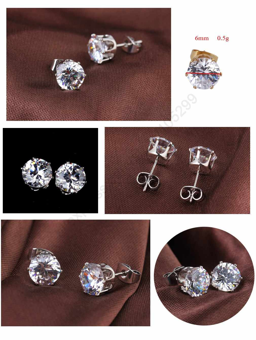 Summer Simple Anti-Allergic 925 Sterling Silver Stud Earrings Jewelry Cubic Zirconia Stone Crystal Brincos For Girls Women