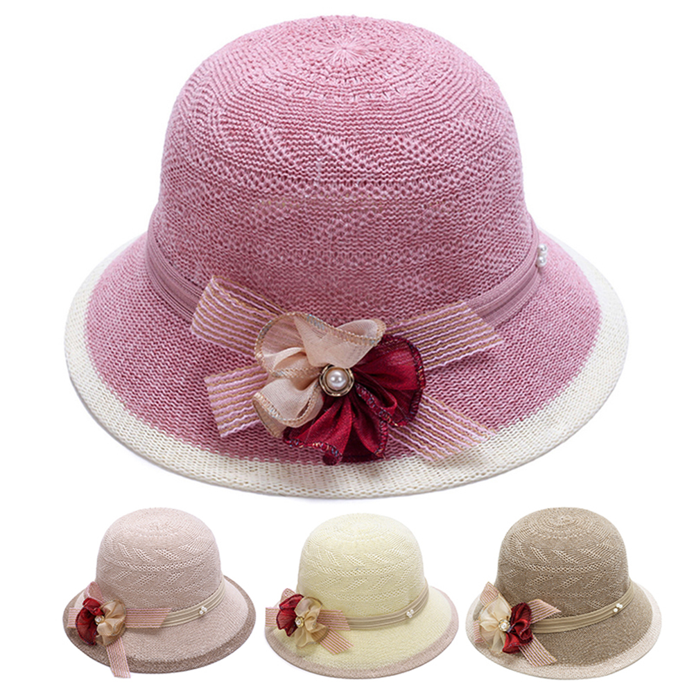 Fashion Elegant Women Bowknot Flower Knitted Bowler Hat Outdoor Casual Sun Cap(China)