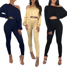 Sexy Slash neck 2 Piece Clothing Set Women Long sleeve Crop Set Casual tracksuit women crop top and pants outfits sets clothes