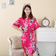 Hot Pink Chinese Women s Faux Silk Robe Gown Summer Casual Printed Home Dress Kimono Bathrobe