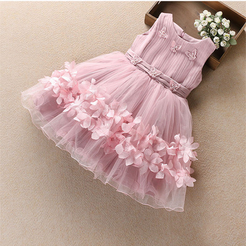 Party Girls Dress Chiffon Flower Princess Tutu Dresses For Girls Infant Kids Costume Toddler Wedding Ball Gown Children Clothing  girls party dresses silk chiffon 2017 brand toddler dress princess costume for kids clothes flower robe enfant children dress