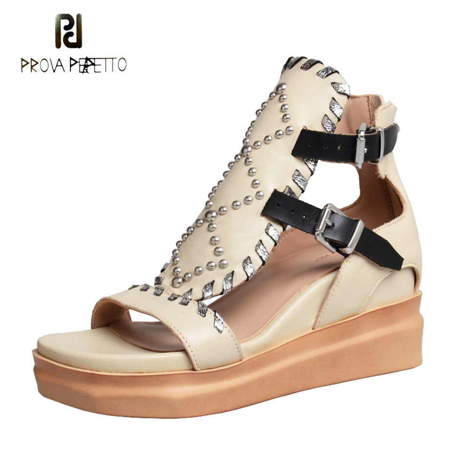 Prova Perfetto 2019 summer sandals women real leather wedge shoesfemme rivet mixed color platform flat sandal women causal shoes