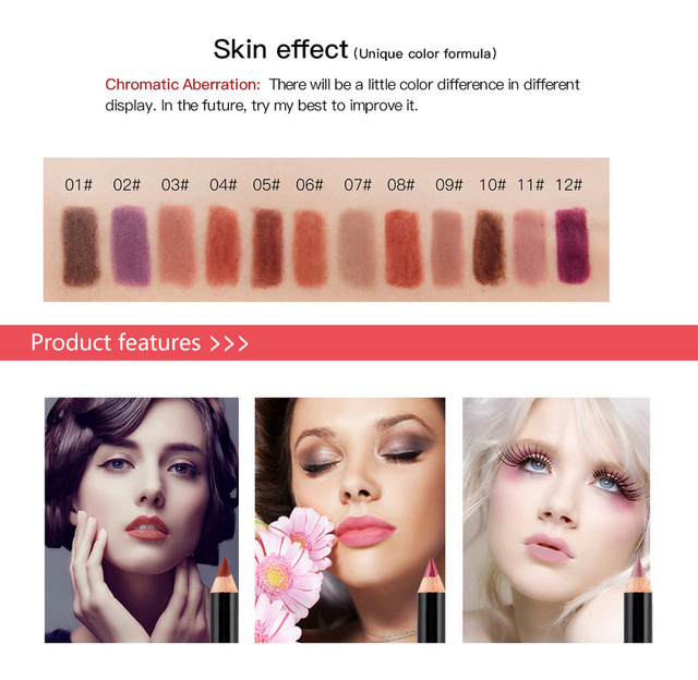 12 Colors Fashion Matte Lip Liner lipstick pen Long Lasting Pigments Waterproof no blooming Smooth soft Makeup tools lips TSLM1 4
