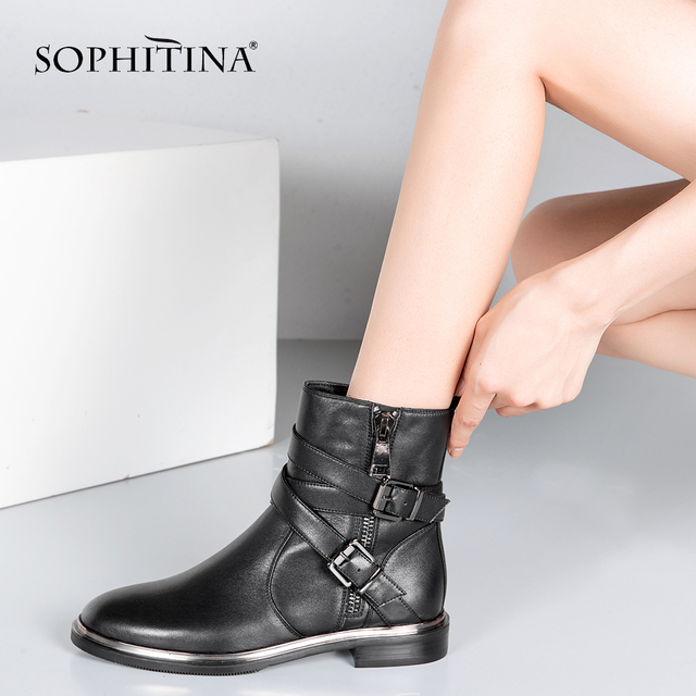 SOPHITINA New Top Quality Ankle Boots Handmade Buckle Strap Zipper Woman Shoes Genuine Leather Elegant Round Toe Lady Boots m21