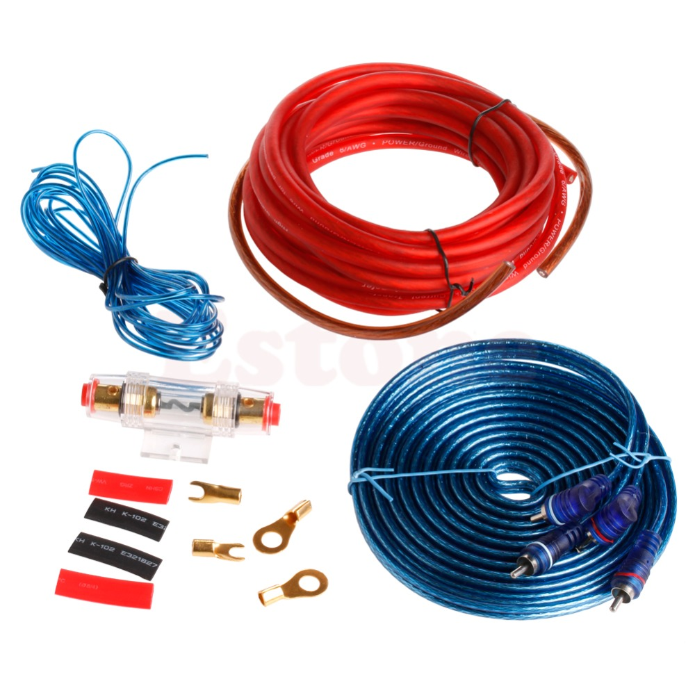 1500w car audio subwoofer sub amplifier amp wiring kit cable 8ga gauge 60a ruse [ 1000 x 1000 Pixel ]