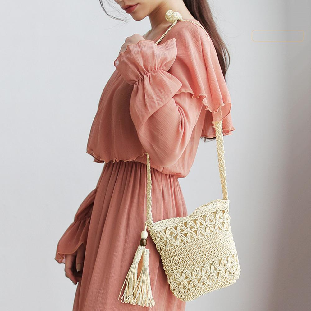 Women Messenger Bags Ins Hot Sale Hollow Out Woven Single Shoulder Crossbody Tassel Beach Casual Straw Bag For Women Girl Bags