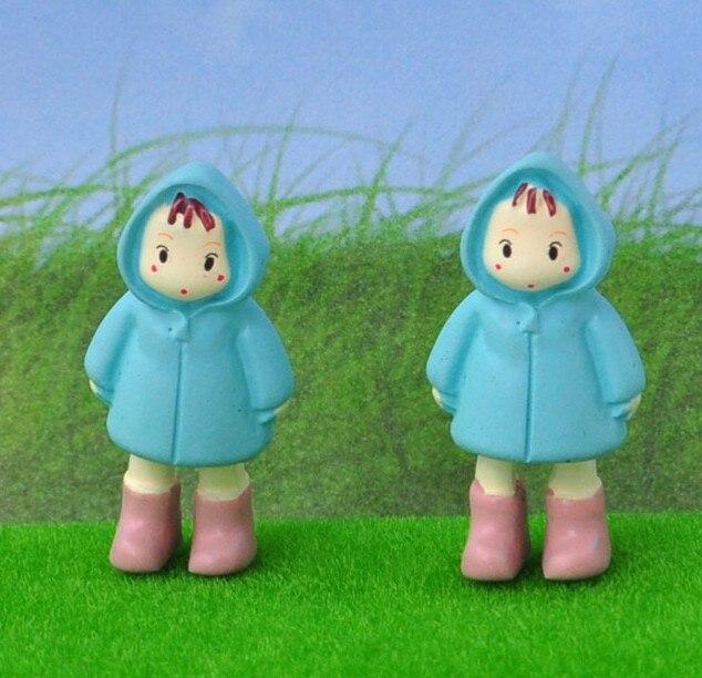 Hayao Miyazaki Totoro Little Girl Mei Action Figure Toys Doll Mini Xiaomei Raincoat Subminiature DIY Earrings Micro Landscape
