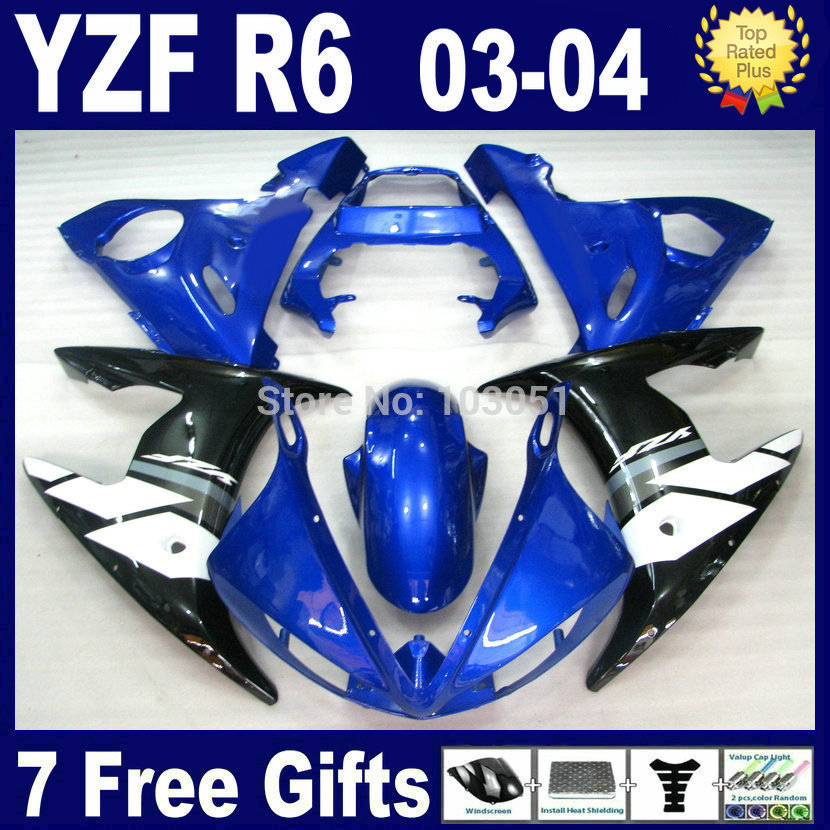 7 gifts moto road fairings set For Yamaha YZFR6 03 04 05 blue black plastics YZF R6 2003 2004 2005  2003 2004 2005 bodywork Fair mfs motor motorcycle part front rear brake discs rotor for yamaha yzf r6 2003 2004 2005 yzfr6 03 04 05 gold