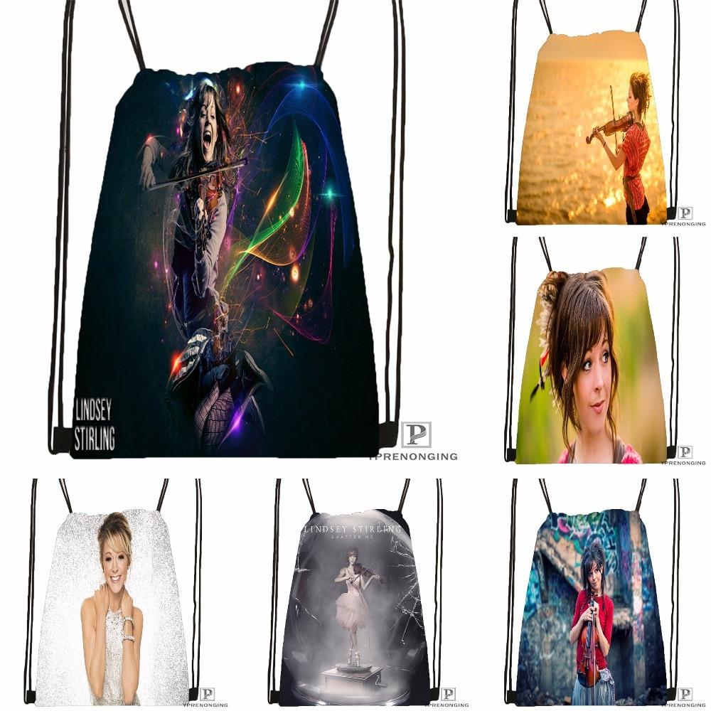 Custom Lindsey Stirling Drawstring Backpack Bag Cute Daypack Kids Satchel (Black Back) 31x40cm#180531-04-63