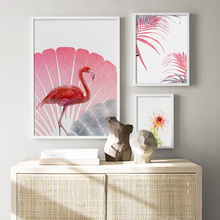 Pink Flower Peony Leaf  Cactus Flamingo Wall Art Canvas Painting Nordic Posters and Prints Wall Pictures for Living Room Decor цена
