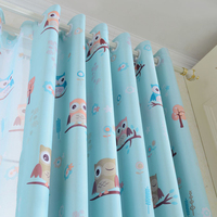 Anself 3Pcs/set Curtains Cute Owl Printed Curtainsfor Livingroom 2pcs Thick Window Screening with 1pcs 100*250cm Curtain Tulle