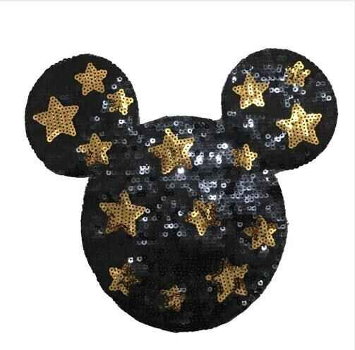 Dz 2 개/몫/많은 스타 미키 스팽글 의류에 대한 패치에 바느질 만화 마우스 장식 조각 applique 패치 diy 봉제 수리