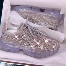 Spring New Hot Sale Crystal Rhinestone Women Sneakers Platfo
