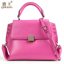 QIWANG Loved Vogue 2016 Fashion Hot Pink Women Bag Tote Satchel Handbag with Flap and Back