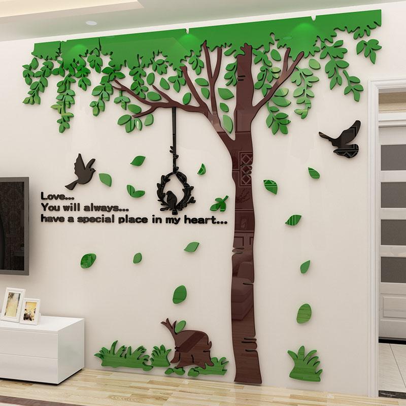 Ins style grand arbre mur autocollant 3d acrylique solide mur autocollant affiche TV mur décoration salon créatif papier peint