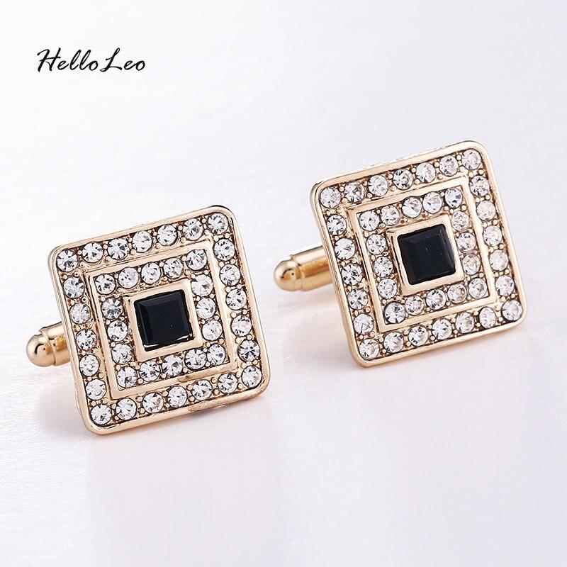 High Quality CZ cubic zircon Full Rhinestone 18K gold planted Luxury Elegant French Cuffinks Button For Men