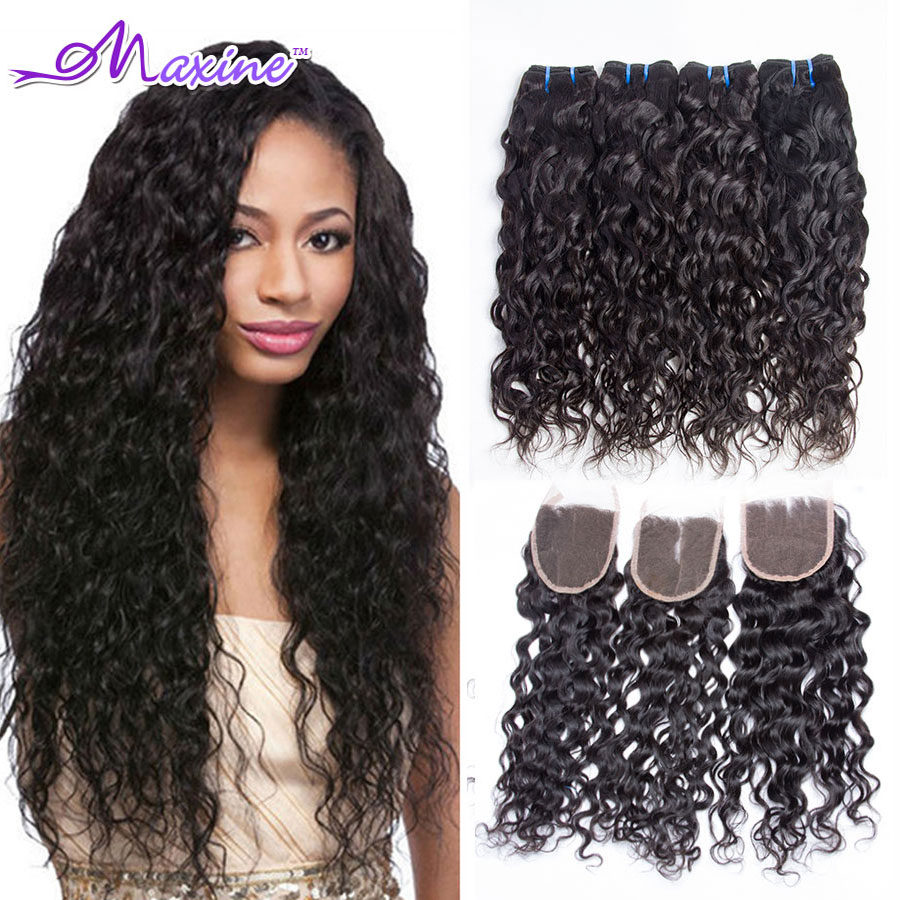 maxine hair products brazilian virgin hair water wave with closure 6a brazilian virgin hair. Black Bedroom Furniture Sets. Home Design Ideas