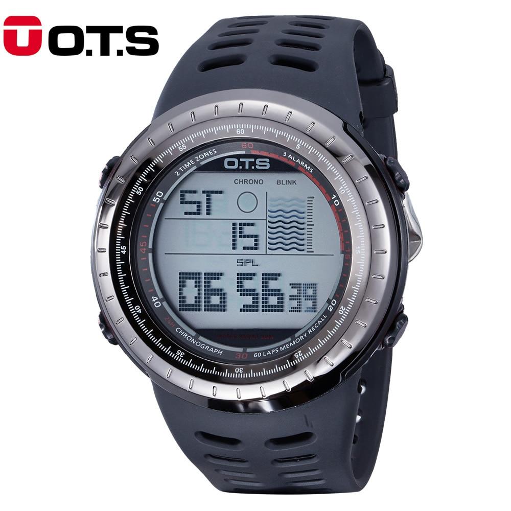 OTS Men Digital LED Sports Watches swim fashion casual Military Wristwatches rubber strap relogio masculino Luxury Brand 2017