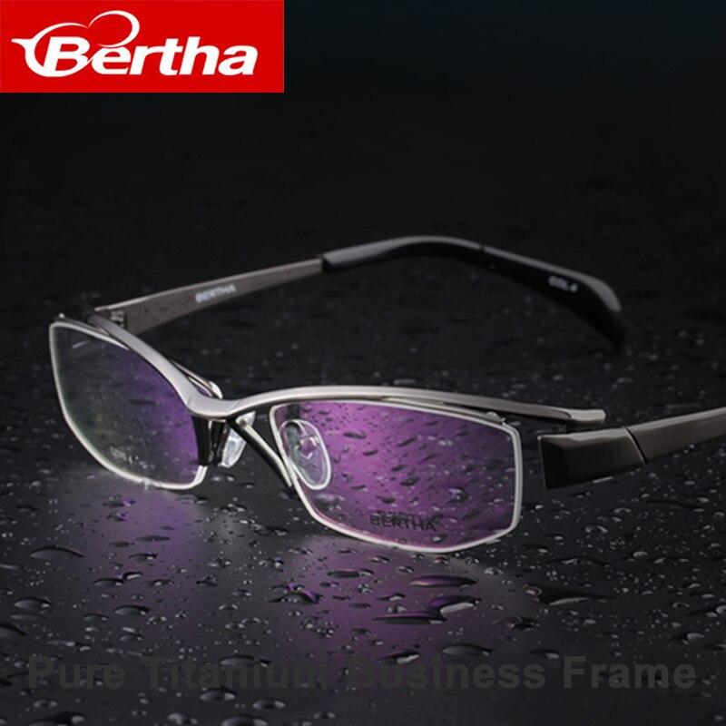 Bertha lunettes de vue Semi-sans monture affaires titane cadre 1107