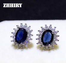 ZHHIRY Sapphire Earring Real 925 Sterling Silver Natural Gemstone Women Earrings Jewelry Stone New style January Birthstone