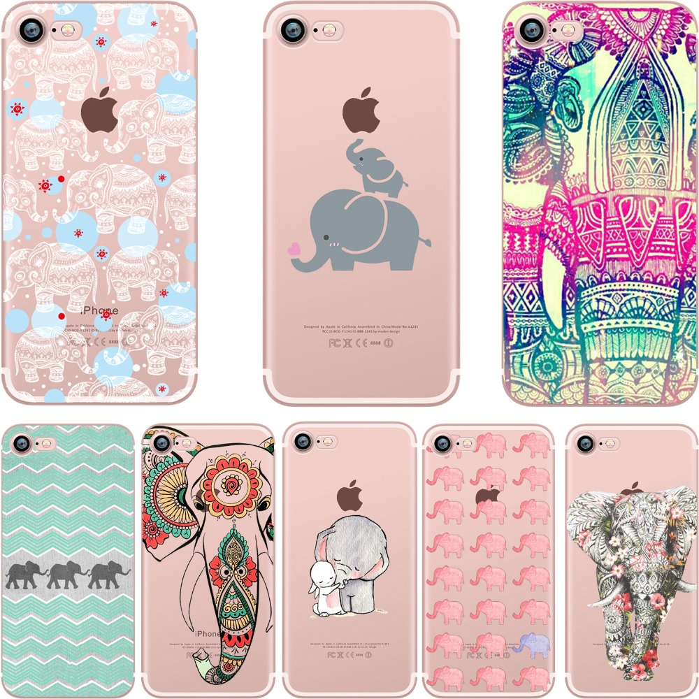 Phone cases Tribal Tattoos Elephants Painted soft case Fundas coque cover for iPhone 7 7plus 6 5S SE 6plus Capa Para