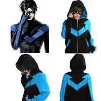 Xcoserナイトウィングパーカーdcコミックスバットマンコスプレ衣装暖かい綿ブルー黒フード付きスウェットシャツハロウィン衣装大人ユニセックス