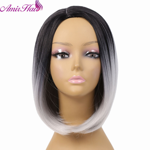 Two colour 2017 Two Tones Ombre Wig Medium Short Straight Synthetic Hair Wig for Black Women Perruque Peruk Afircan American Wig