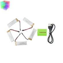 3.7 v 550 mah Lipo 5 pcs Batteries Et Vert Chargeur Pour Wltoys V977 V930 Rc Hélicoptère Drone De Rechange Partie Jjrc H37 Batterie