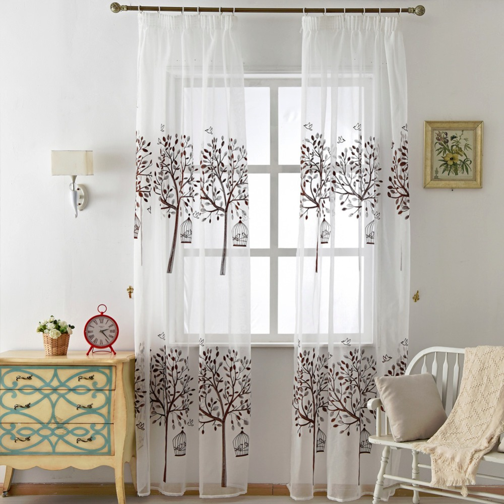 Kids modern bedroom curtains - Curtains Window Curtain Embroidered Voile Brown Modern Tree Linen Tulle Door Bedroom Short White Drapes Kid