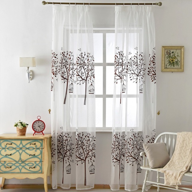 Tende tenda di finestra del voile Ricamato marrone moderno albero di ...
