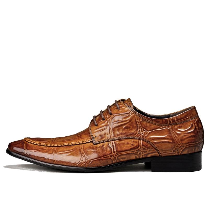 Dedo marrón Vestido De Oxford Moda Del Cocodrilo Black A puntiagudo Pie Hombres Nueva Mano Diseño Negocios Cuero Zapatos Genuino Negro Los Encaje brown Hecho Pjcmg aT7q07