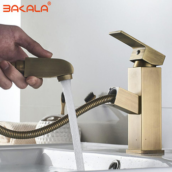 BAKALA Vanity Bathroom Faucet Brass Antique Pull Out Basin Mixer Washbasin Water Tap Pull Down Sink Mixer Hot Cold Water Crane