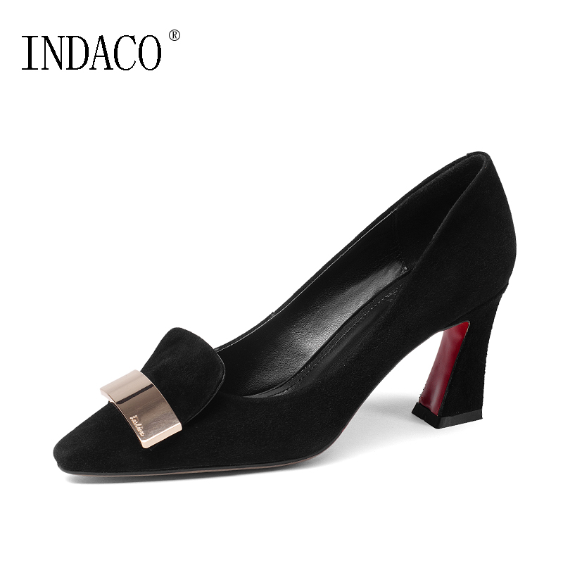 2018 European Style Fashion Suede Kid Leather Pumps Thick High Heel 7.5CM Womens Shoes Heels Red Bottoms for Women Heels INDACO