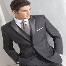 Custom Made Fashion Dark Grey Men Business Suit Men Wedding Suits Groom Tuxedos Best man Suit Groomsman(Jacket+Vest+Pant+Tie)